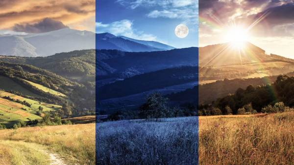 Creative landscape photo of moon and sun together