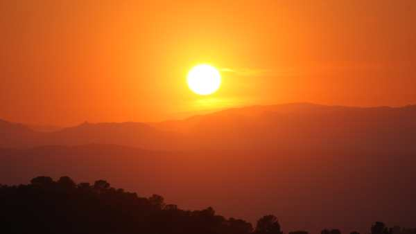 Sunset across mountains